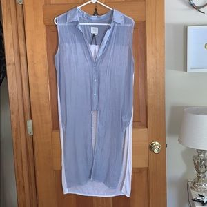 Anthropologie blue and white button tunic tank